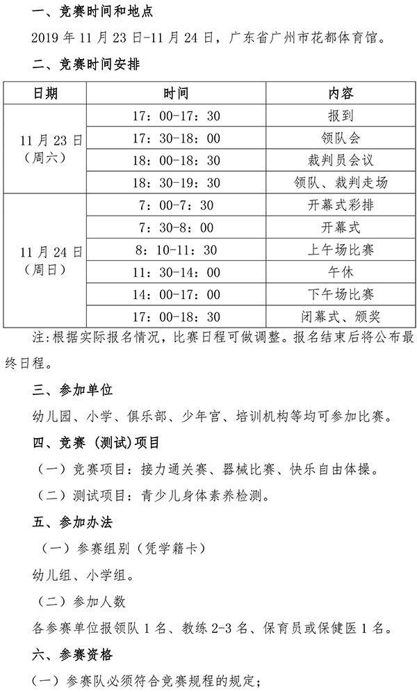 2019年全国快乐体操比赛(广东花都站)竞赛规程插图