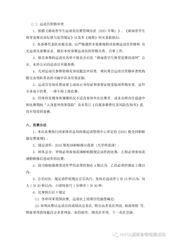 2021 年湖南省大学生啦啦操比赛参赛须知插图(3)